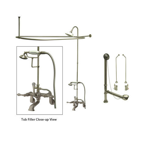 Satin Nickel Clawfoot Tub Faucet Shower Kit with Enclosure Curtain Rod 51T8CTS