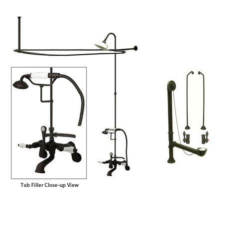 Oil Rubbed Bronze Clawfoot Tub Faucet Shower Kit with Enclosure Curtain Rod 53T5CTS