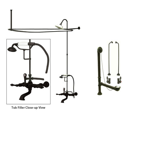 Oil Rubbed Bronze Clawfoot Tub Faucet Shower Kit with Enclosure Curtain Rod 541T5CTS