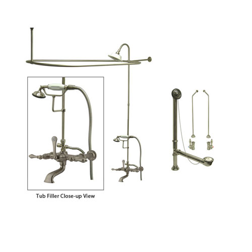 Satin Nickel Clawfoot Tub Faucet Shower Kit with Enclosure Curtain Rod 541T8CTS