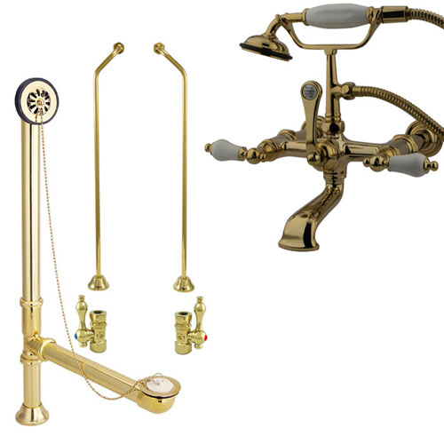 Polished Brass Wall Mount Clawfoot Tub Filler Faucet W
