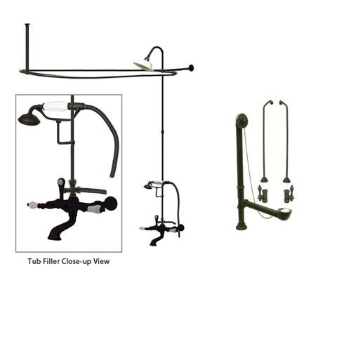 Oil Rubbed Bronze Clawfoot Bath Tub Faucet Shower Kit with Enclosure Curtain Rod 543T5CTS