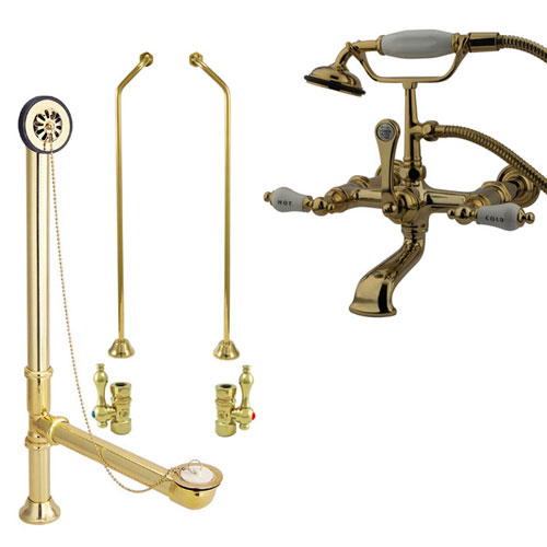 Polished Brass Wall Mount Clawfoot Tub Filler Faucet w Hand Shower Package CC545T2system