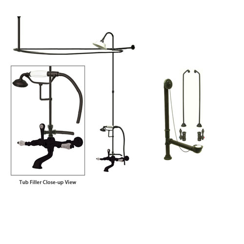 Oil Rubbed Bronze Clawfoot Tub Faucet Shower Kit with Enclosure Curtain Rod 545T5CTS