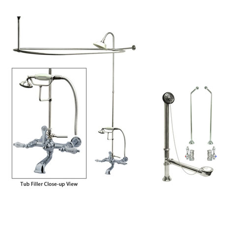 Chrome Clawfoot Tub Faucet Shower Kit with Enclosure Curtain Rod 546T1CTS