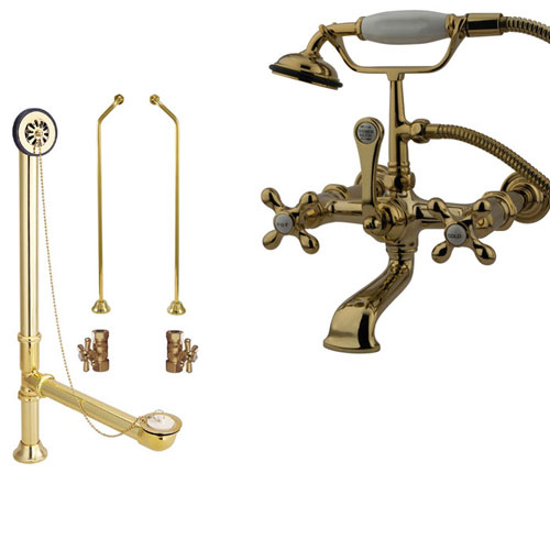 Polished Brass Wall Mount Clawfoot Tub Filler Faucet w Hand Shower Package CC547T2system