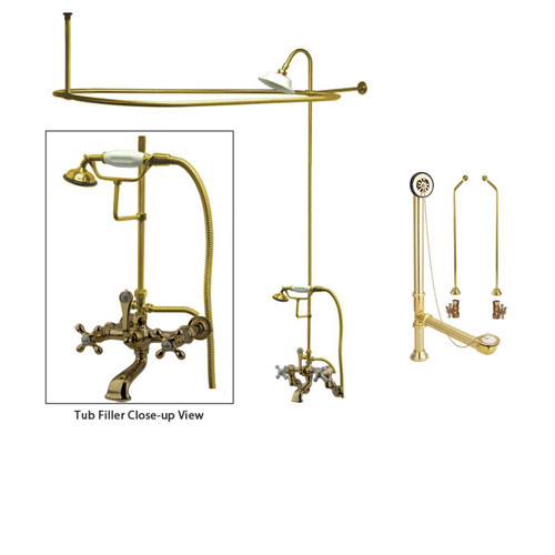 Polished Brass Clawfoot Tub Faucet Shower Kit with Enclosure Curtain Rod 547T2CTS