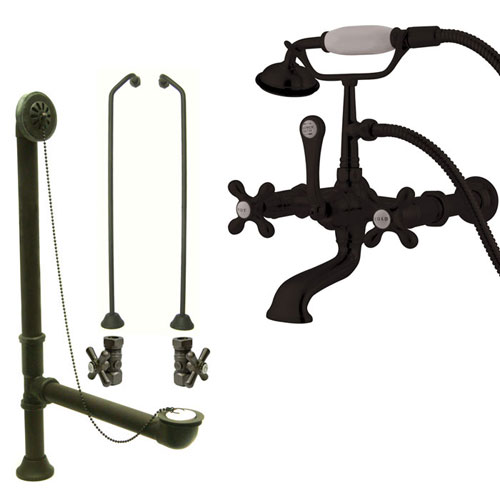 Oil Rubbed Bronze Wall Mount Clawfoot Bath Tub Faucet w Hand Shower Package CC547T5system