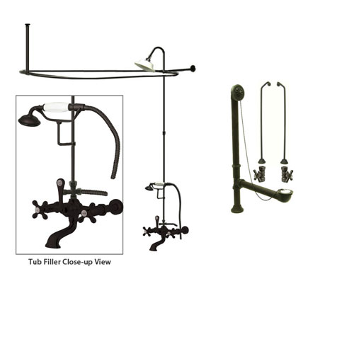 Oil Rubbed Bronze Clawfoot Tub Faucet Shower Kit with Enclosure Curtain Rod 547T5CTS