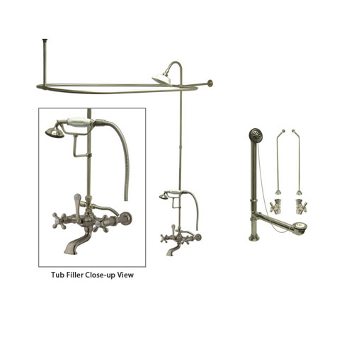 Satin Nickel Faucet Clawfoot Tub Shower Kit with Enclosure Curtain Rod 547T8CTS