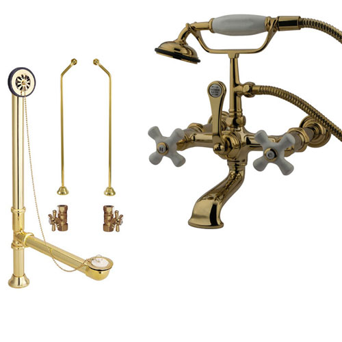 Polished Brass Wall Mount Clawfoot Tub Filler Faucet w Hand Shower Package CC549T2system