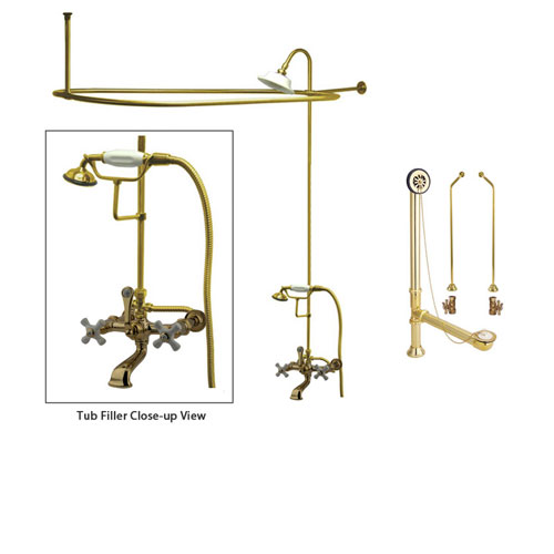 Polished Brass Clawfoot Tub Faucet Shower Kit with Enclosure Curtain Rod 549T2CTS
