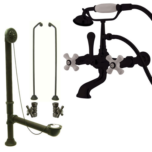 Oil Rubbed Bronze Wall Mount Clawfoot Bath Tub Faucet w Hand Shower Package CC549T5system