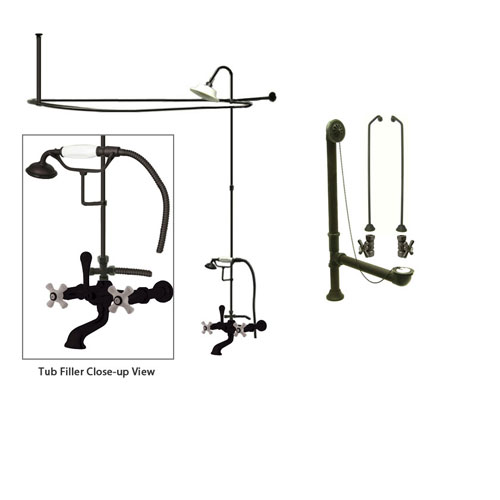 Oil Rubbed Bronze Clawfoot Tub Faucet Shower Kit with Enclosure Curtain Rod 549T5CTS