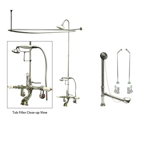 Chrome Clawfoot Tub Faucet Shower Kit with Enclosure Curtain Rod 54T1CTS