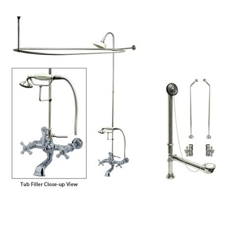 Chrome Clawfoot Tub Faucet Shower Kit with Enclosure Curtain Rod 550T1CTS