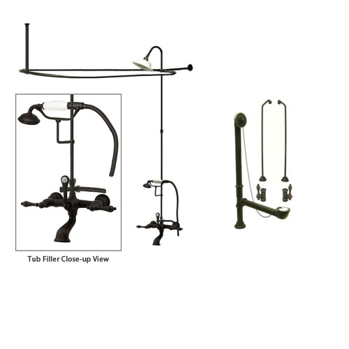 Oil Rubbed Bronze Clawfoot Tub Shower Faucet Kit with Enclosure Curtain Rod 551T5CTS