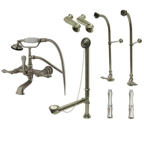 Freestanding Floor Mount Satin Nickel Metal Lever Handle Clawfoot Tub Filler Faucet with Hand Shower Package 551T8FSP