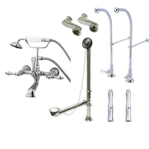 Freestanding Floor Mount Chrome Metal Lever Handle Clawfoot Tub Filler Faucet with Hand Shower Package 552T1FSP