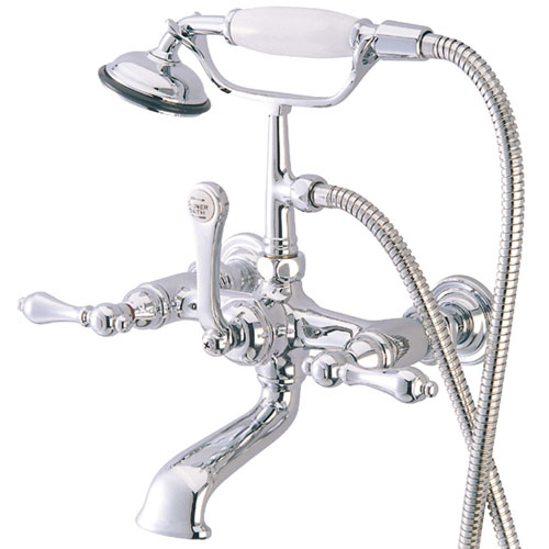 Kingston Brass Chrome Wall Mount Clawfoot Tub Faucet w Hand Shower CC552T1