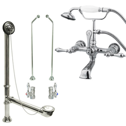 Chrome Wall Mount Clawfoot Tub Filler Faucet w Hand Shower Package CC552T1system