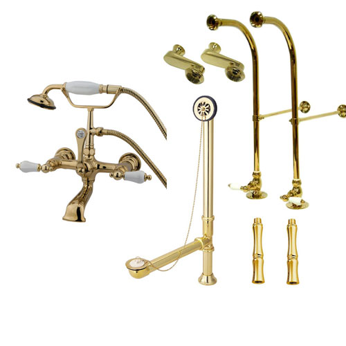 Freestanding Floor Mount Polished Brass White Porcelain Lever Handle Clawfoot Tub Filler Faucet with Hand Shower Package 553T2FSP
