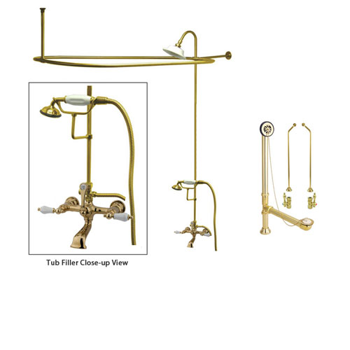 Polished Brass Clawfoot Tub Faucet Shower Kit with Enclosure Curtain Rod 553T2CTS