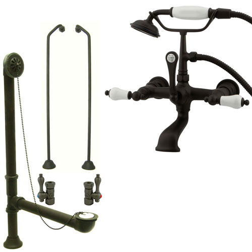 Oil Rubbed Bronze Wall Mount Clawfoot Tub Faucet w Hand Shower Package CC553T5system