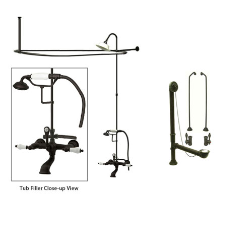 Oil Rubbed Bronze Clawfoot Tub Faucet Shower Kit with Enclosure Curtain Rod 553T5CTS