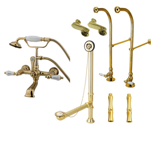 Freestanding Floor Mount Polished Brass Hot/Cold Porcelain Lever Handle Clawfoot Tub Filler Faucet with Hand Shower Package 555T2FSP
