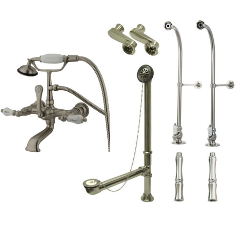 Freestanding Floor Mount Satin Nickel Hot/Cold Porcelain Lever Handle Clawfoot Tub Filler Faucet with Hand Shower Package 555T8FSP