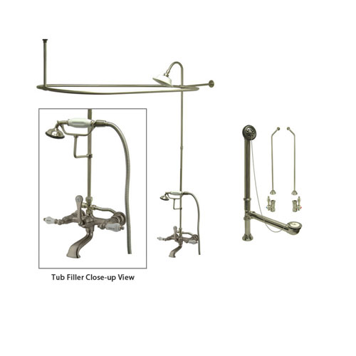 Satin Nickel Clawfoot Tub Faucet Shower Kit with Enclosure Curtain Rod 555T8CTS