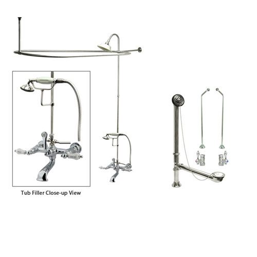 Chrome Clawfoot Tub Faucet Shower Kit with Enclosure Curtain Rod 556T1CTS