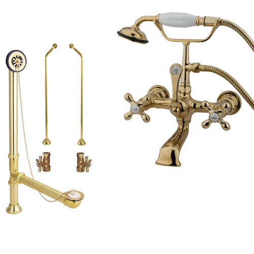 Polished Brass Wall Mount Clawfoot Tub Filler Faucet w Hand Shower Package CC557T2system