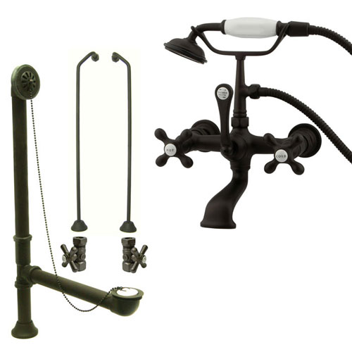 Oil Rubbed Bronze Wall Mount Clawfoot Tub Faucet w Hand Shower Package CC557T5system