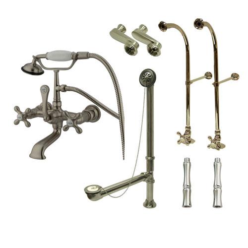Freestanding Floor Mount Satin Nickel Metal Cross Handle Clawfoot Tub Filler Faucet with Hand Shower Package 557T8FSP
