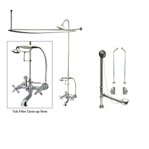 Chrome Clawfoot Tub Faucet Shower Kit with Enclosure Curtain Rod 558T1CTS