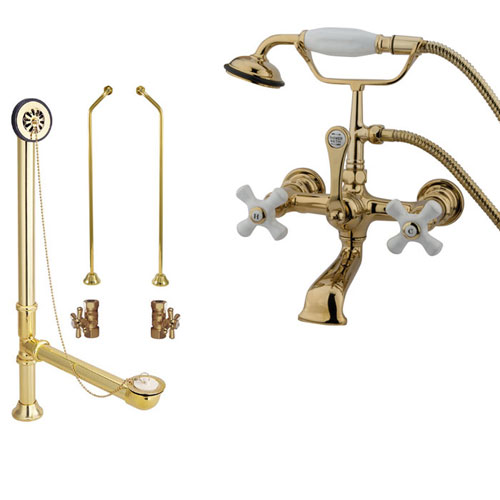 Polished Brass Wall Mount Clawfoot Tub Filler Faucet w Hand Shower Package CC559T2system
