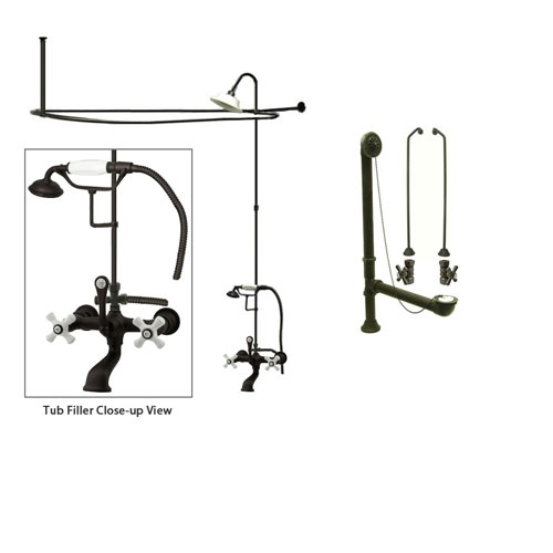 Oil Rubbed Bronze Clawfoot Tub Faucet Shower Kit with Enclosure Curtain Rod 559T5CTS