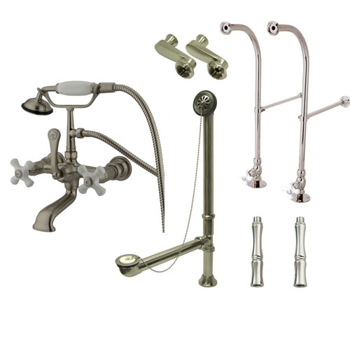 Freestanding Floor Mount Satin Nickel White Porcelain Cross Handle Clawfoot Tub Filler Faucet with Hand Shower Package 559T8FSP
