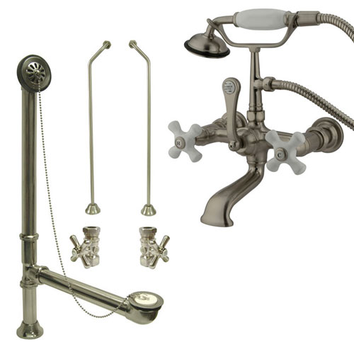 Satin Nickel Wall Mount Clawfoot Tub Filler Faucet w Hand Shower Package CC559T8system