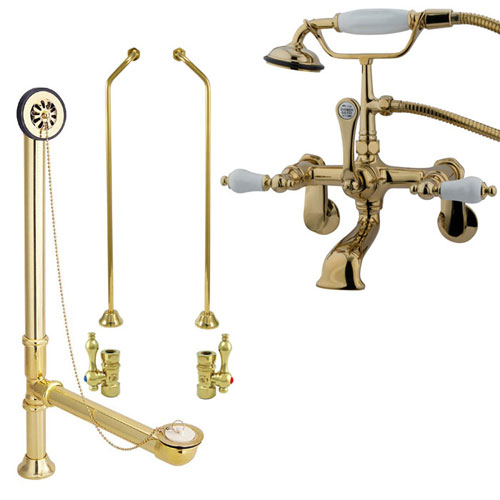 Polished Brass Wall Mount Clawfoot Tub Filler Faucet w Hand Shower Package CC55T2system