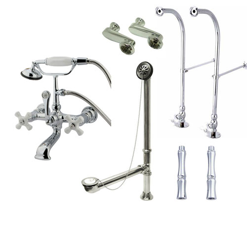 Freestanding Floor Mount Chrome White Porcelain Cross Handle Clawfoot Tub Filler Faucet with Hand Shower Package 560T1FSP