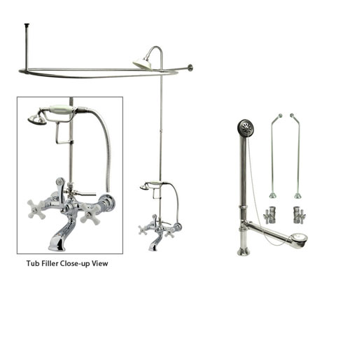 Chrome Clawfoot Tub Faucet Shower Kit with Enclosure Curtain Rod 560T1CTS