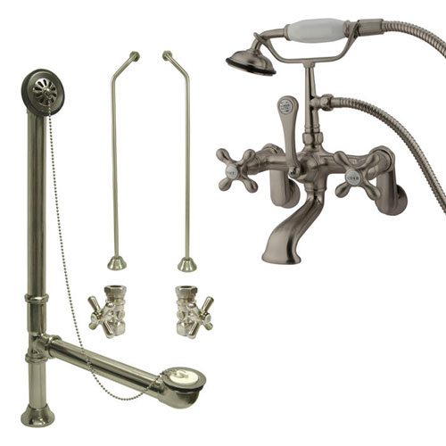 Satin Nickel Wall Mount Clawfoot Bath Tub Filler Faucet w Hand Shower Package CC57T8system