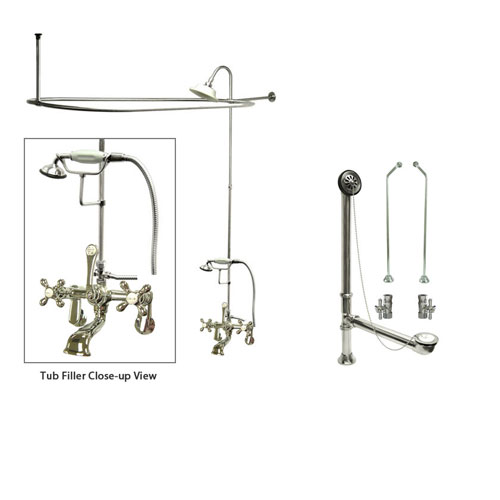 Chrome Clawfoot Bathtub Faucet Shower Kit with Enclosure Curtain Rod 58T1CTS