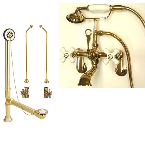 Polished Brass Wall Mount Clawfoot Tub Filler Faucet w Hand Shower Package CC59T2system
