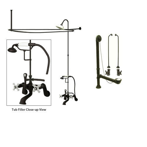 Oil Rubbed Bronze Clawfoot Tub Faucet Shower Kit with Enclosure Curtain Rod 59T5CTS