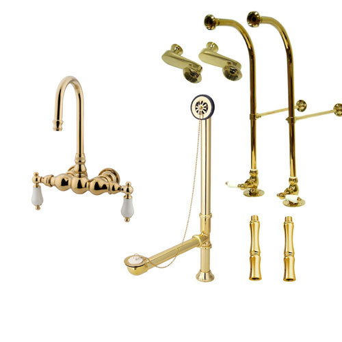 Freestanding Floor Mount Polished Brass White Porcelain Lever Handle Clawfoot Tub Filler Faucet Package 5T2FSP