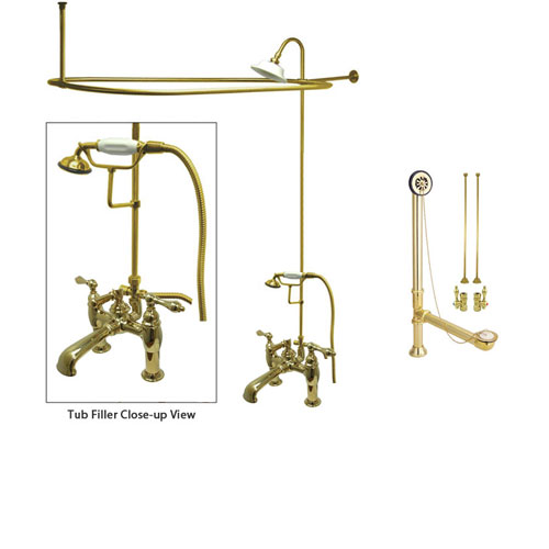 Polished Brass Clawfoot Tub Faucet Shower Kit with Enclosure Curtain Rod 603T2CTS